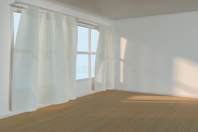 Une salle vide avec le soleil viennent par le rideau, le rendu 3d illustration libre de droits