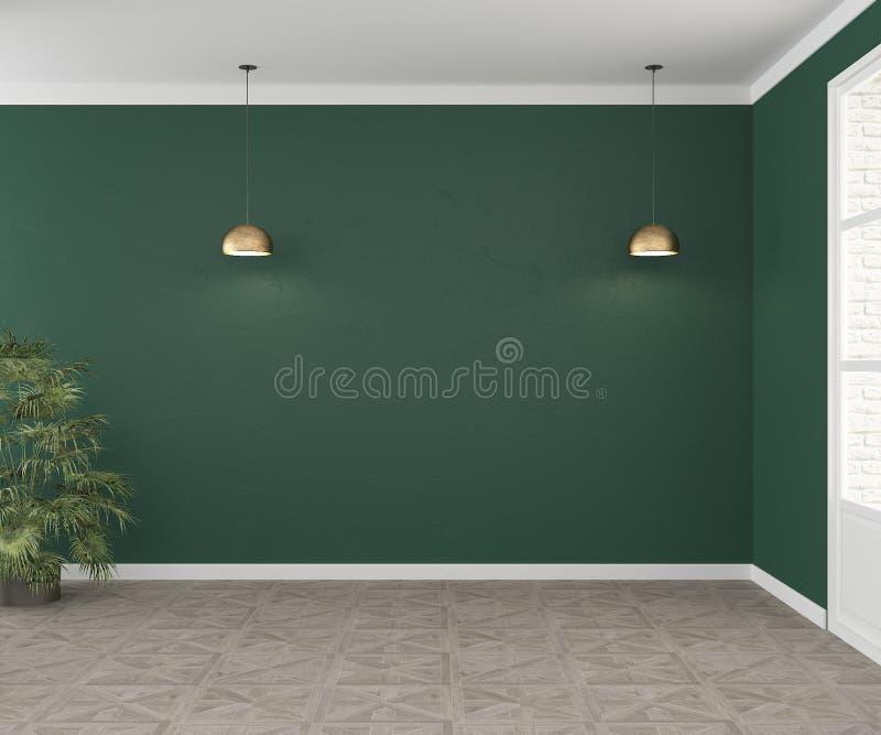 Une salle vide avec les murs verts et deux lampes Intérieur pour le mockap pour le sofa Vue directement rendu 3d illustration de vecteur