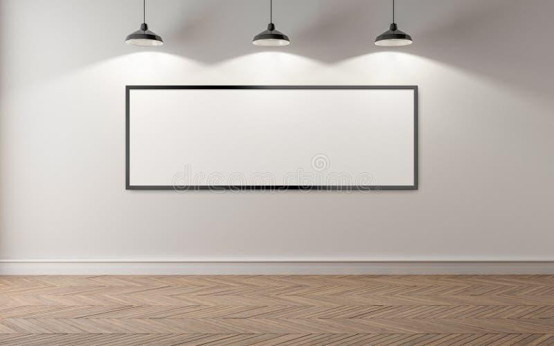 Une salle vide, un mur blanc et trois lampes qui l'illuminent Ba illustration stock