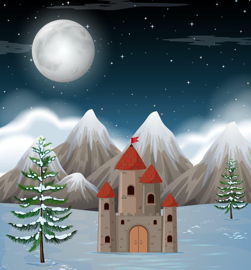 Une scène d'hiver de nuit de lune illustration libre de droits