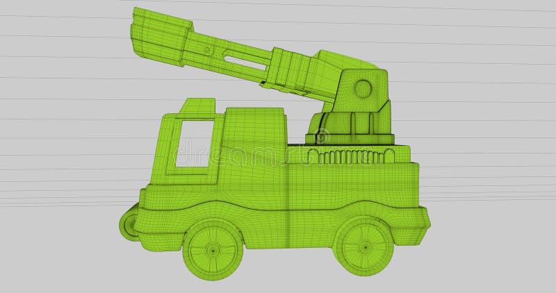 Une scène d'un camion de pompiers dans un style de wireframe illustration libre de droits