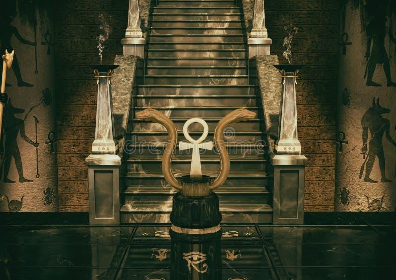 Une scène de deux serpents d'or et d'une croix égyptienne Ank et geoglyphs sur le plancher illustration de vecteur