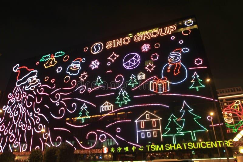 une scène de nuit de Hong Kong au HK image libre de droits