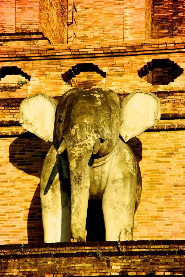 Une sculpture d'éléphant dans le temple Wat Chedi Luang de Chiang Mai photo stock