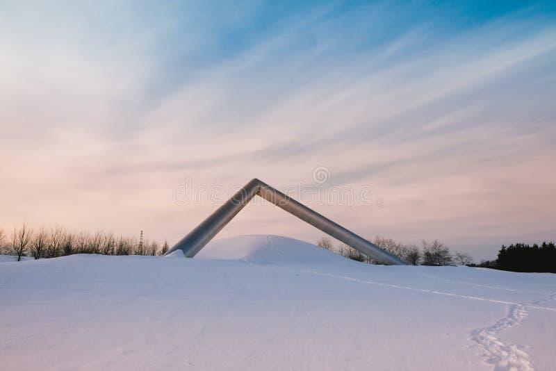 Une sculpture en parc de Sapporo en hiver photos stock