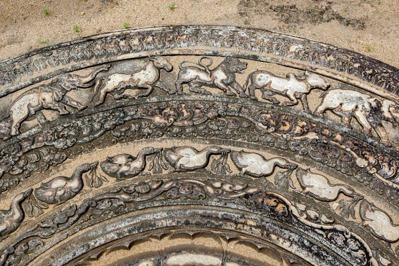 Une section de la pierre de la lune en pierre célèbre aux ruines antiques d'Anuradhapura dans Sri Lanka image stock