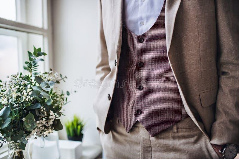 Une section médiane de l'homme avec la position formelle de costume sur une partie d'intérieur photo stock