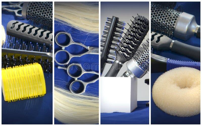 Une serrure des cheveux et des cisaillements, brosses de cheveux photo stock