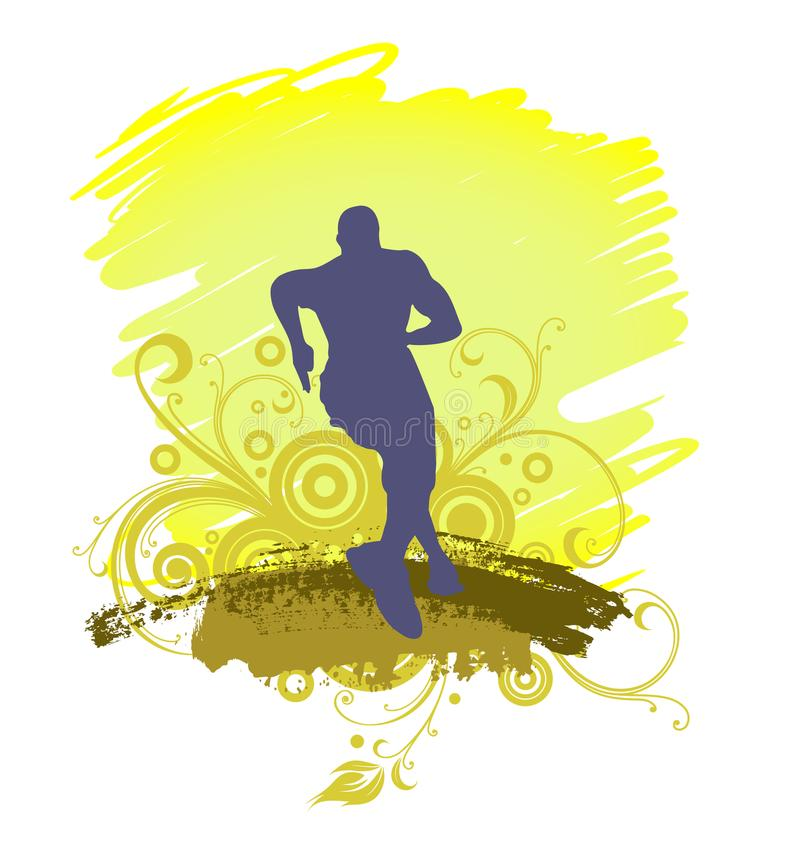 Une silhouette courante d'homme, illustration illustration stock