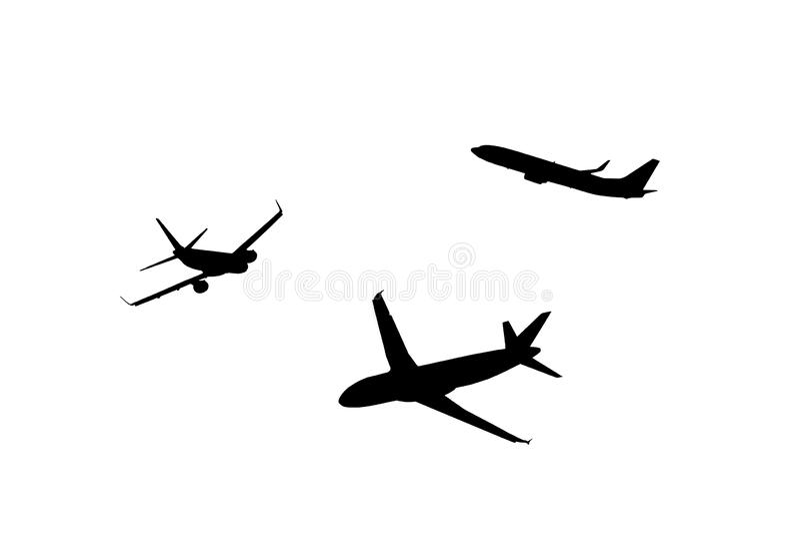 Une silhouette d'avion cultivée pour le fond photos libres de droits