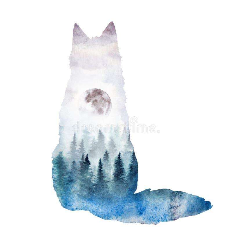 Une silhouette d'un renard avec le paysage d'aquarelle à l'intérieur illustration de vecteur