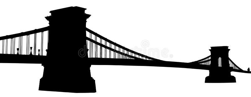 Une silhouette d'une passerelle à chaînes à Budapest illustration de vecteur