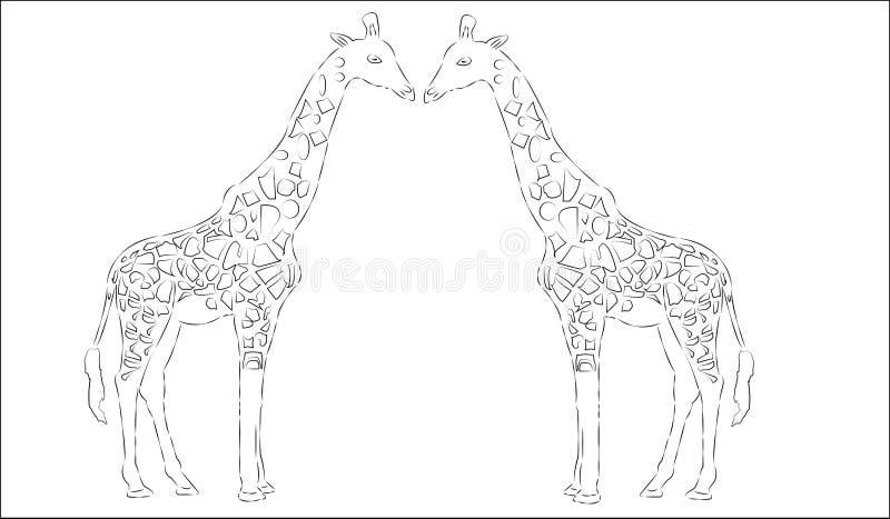 Une silhouette de girafe de vecteur, illustration animale abstraite Peut être employé pour le fond, carte, matériaux d'impression illustration libre de droits