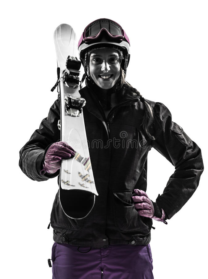 Une silhouette de portrait de skieur de femme photo stock