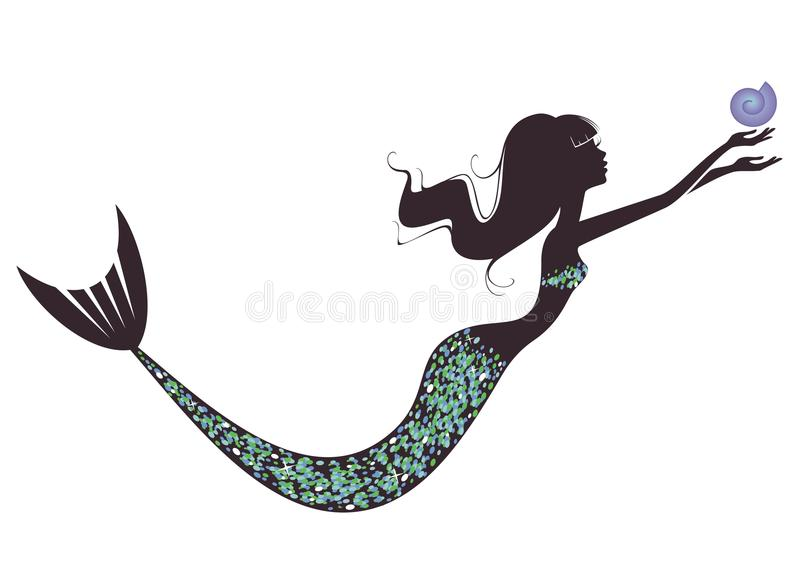 Une silhouette de sirène illustration stock