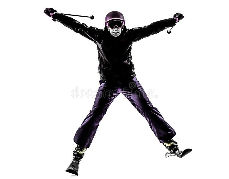 Une silhouette de ski de skieur de femme images stock