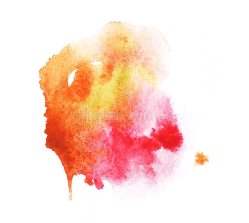 Une silhouette informe orange lumineuse de tache d'aquarelle illustration de vecteur