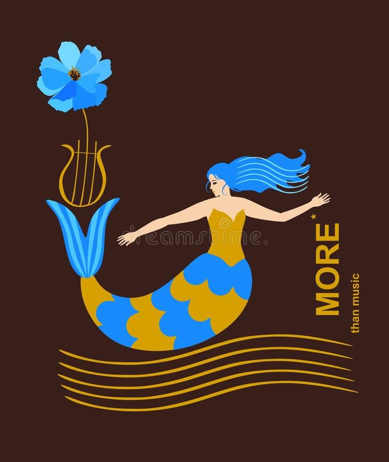 Une sirène douce avec les cheveux bleus et oscillations d'or et bleues d'échelles sur les vagues sous forme de règles musicales illustration de vecteur