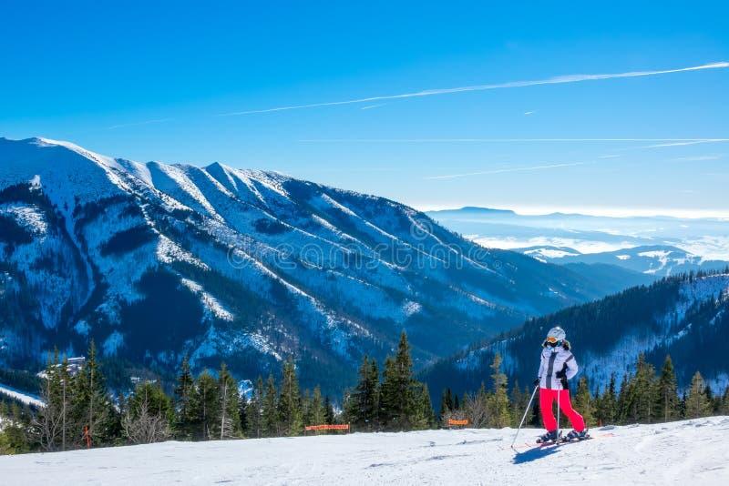 Une skieuse admirant le panorama des montagnes enneigées photo stock