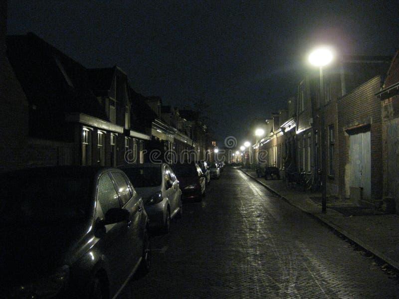 Une soirée croquante sur les rues de Groningue, les Pays-Bas photo libre de droits