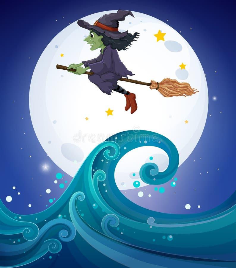 Une sorcière au-dessus des vagues géantes illustration stock