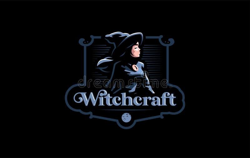 Une sorcière dans le chapeau d'une sorcière illustration de vecteur