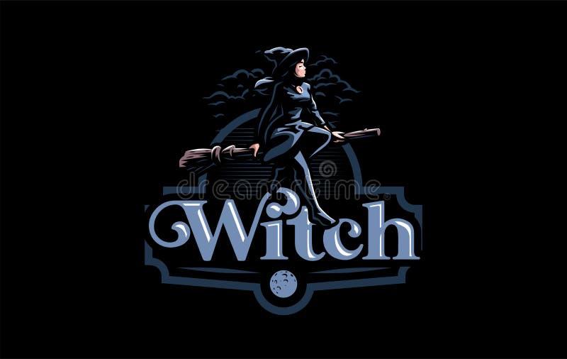 Une sorcière dans le chapeau d'une sorcière illustration stock