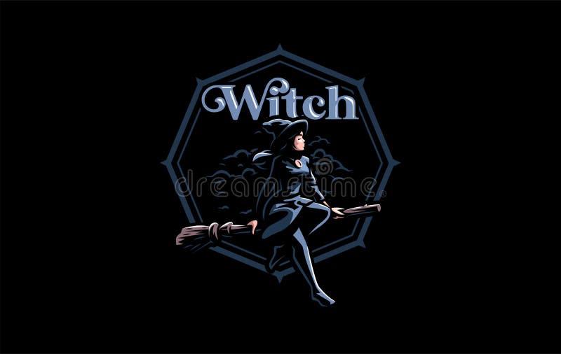 Une sorcière dans le chapeau d'une sorcière illustration libre de droits