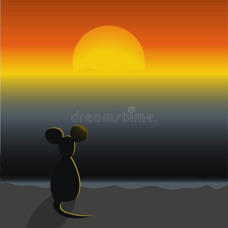 Une souris se reposant sur une plage et regardant le coucher du soleil photo stock