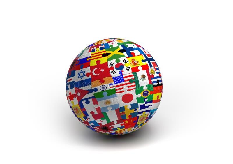 Une boule de puzzle de drapeau du monde illustration libre de droits