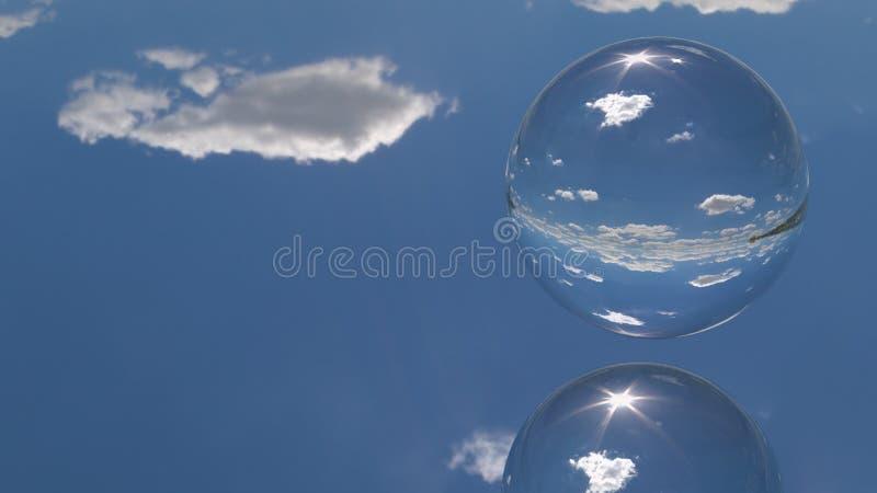 Une sphère sur un au sol de miroir illustration de vecteur
