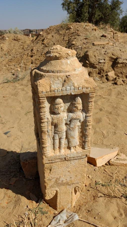 Une statue dans le village de Kuldhara, Ràjasthàn photo stock