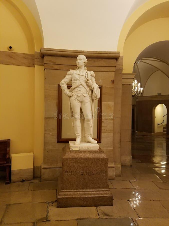 Une statue de Nathanael Greene d'Île de Rhode dans le Hall statuaire national dans le bâtiment de capitol des USA dans le Washing photo stock
