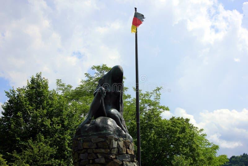 Une statue du lorelei en Allemagne image stock