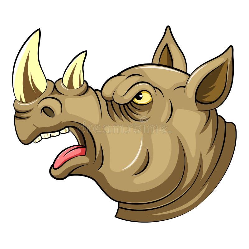 Une tête de bande dessinée d'un rhinocéros d'hurlement illustration stock
