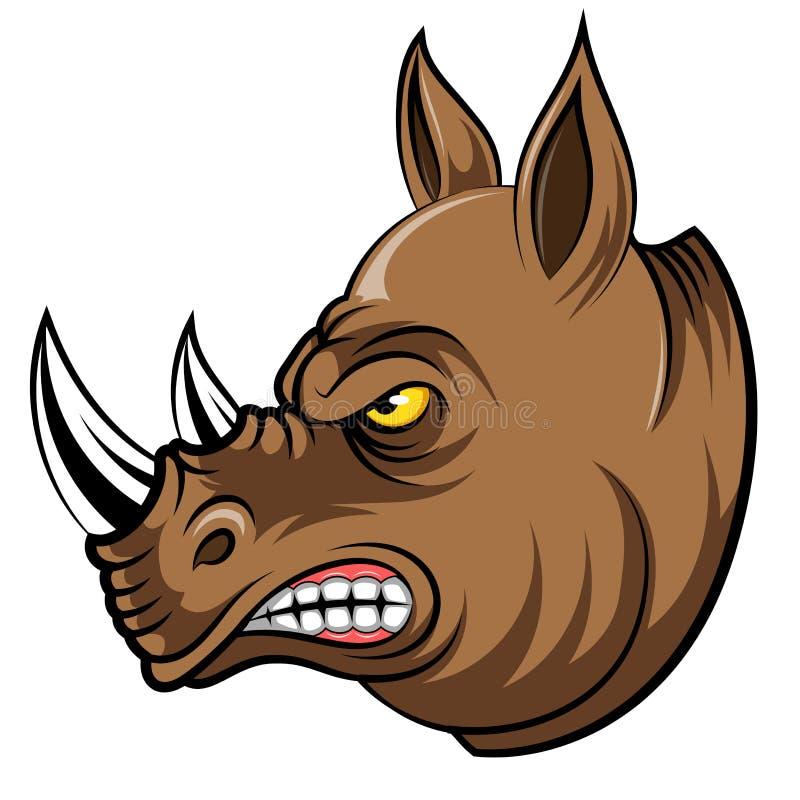 Une tête de mascotte de bande dessinée d'un rhinocéros illustration de vecteur