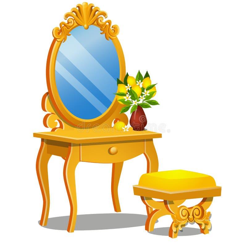 Une table de cru pour des cosmétiques, des selles et un miroir avec le cadre d'isolement sur le fond blanc Plan rapproché de band illustration de vecteur