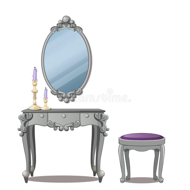 Une table de vintage pour des cosmétiques et un miroir avec le cadre, d'isolement sur le fond blanc Illustration de vecteur illustration stock