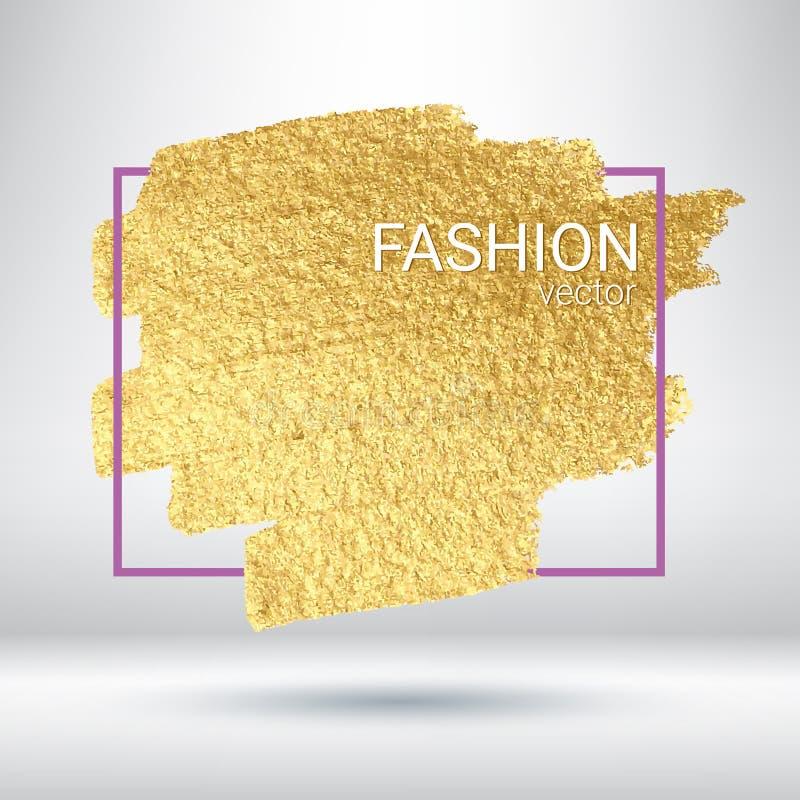 Une tache d'or traçage Calomnie avec une brosse artistique Texture grunge brillante Fond d'or illustration libre de droits