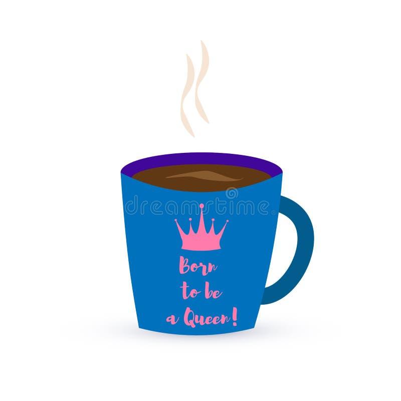 Une tasse avec une photo de la couronne et d'une inscription soutenues à la reine illustration de vecteur