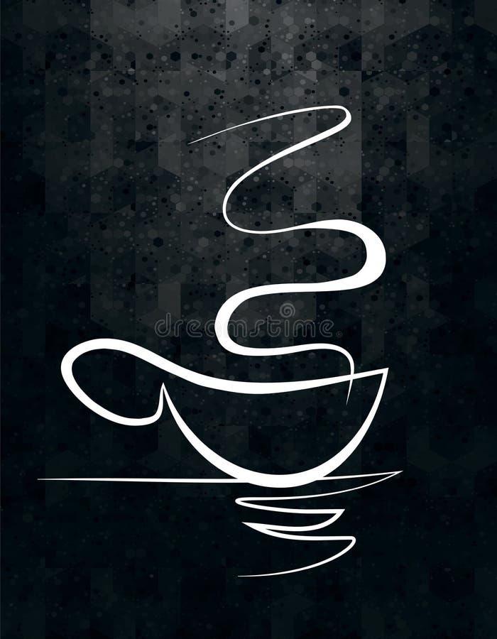 Une tasse de café avec une paire de dessins linéaires illustration de vecteur