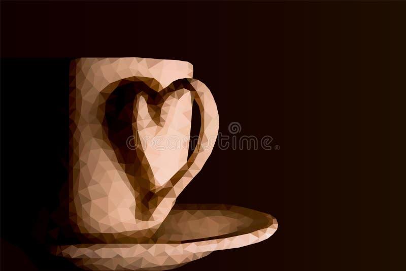 Une tasse de café, basse poly conception, vecteur illustration de vecteur