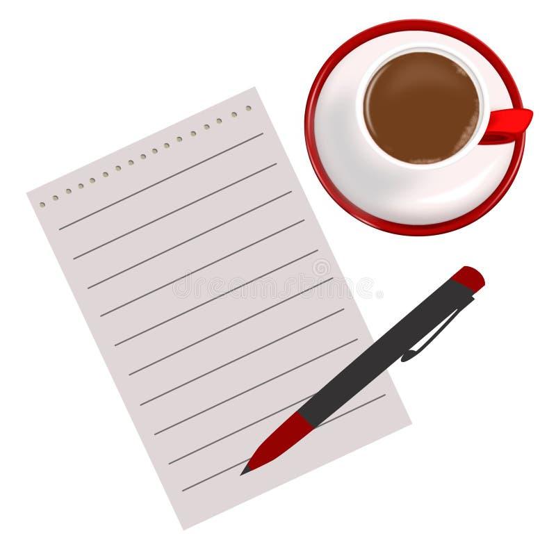 Une tasse de café, de feuille de papier et d'un stylo Tasse, papier, café, stylo illustration de vecteur