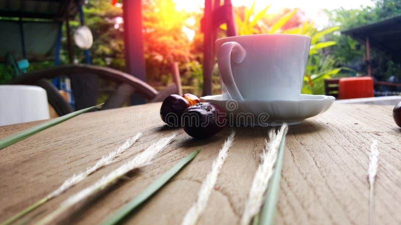 Une tasse de café est placée sur le plancher en bois pendant le matin photographie stock libre de droits