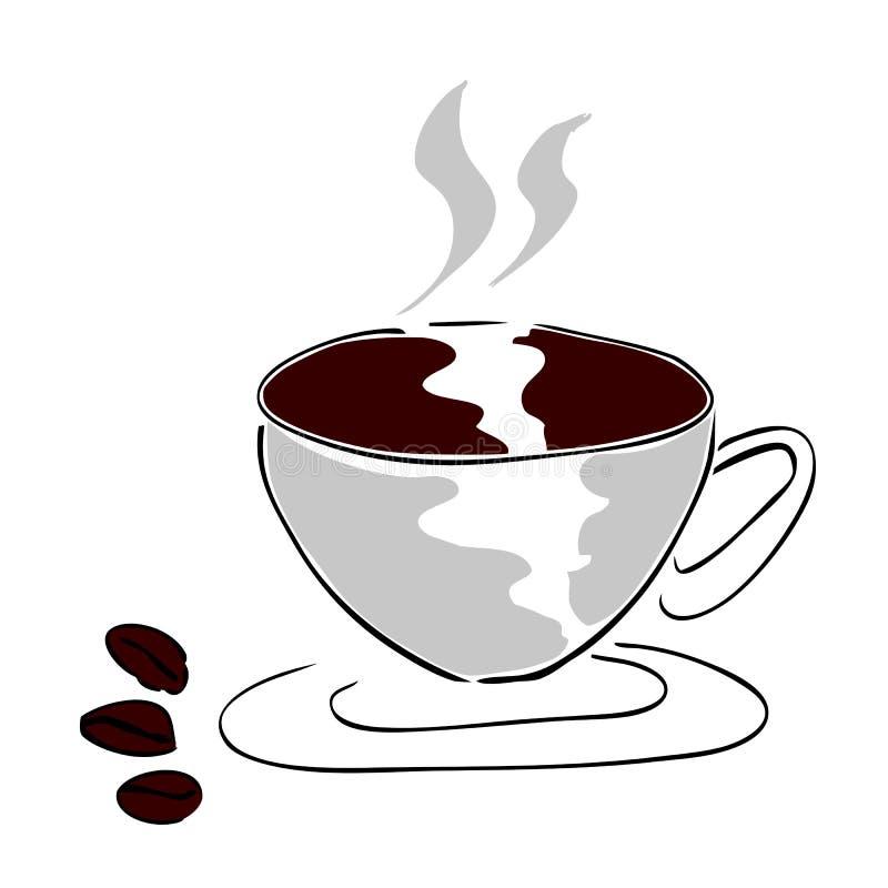 Une tasse de café et de grain de café trois illustration de vecteur