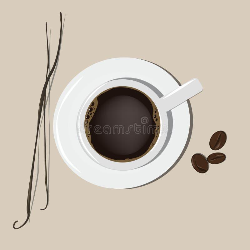 Une tasse de café le bâton des graines de vanille et de cacao Vecteur illustration stock