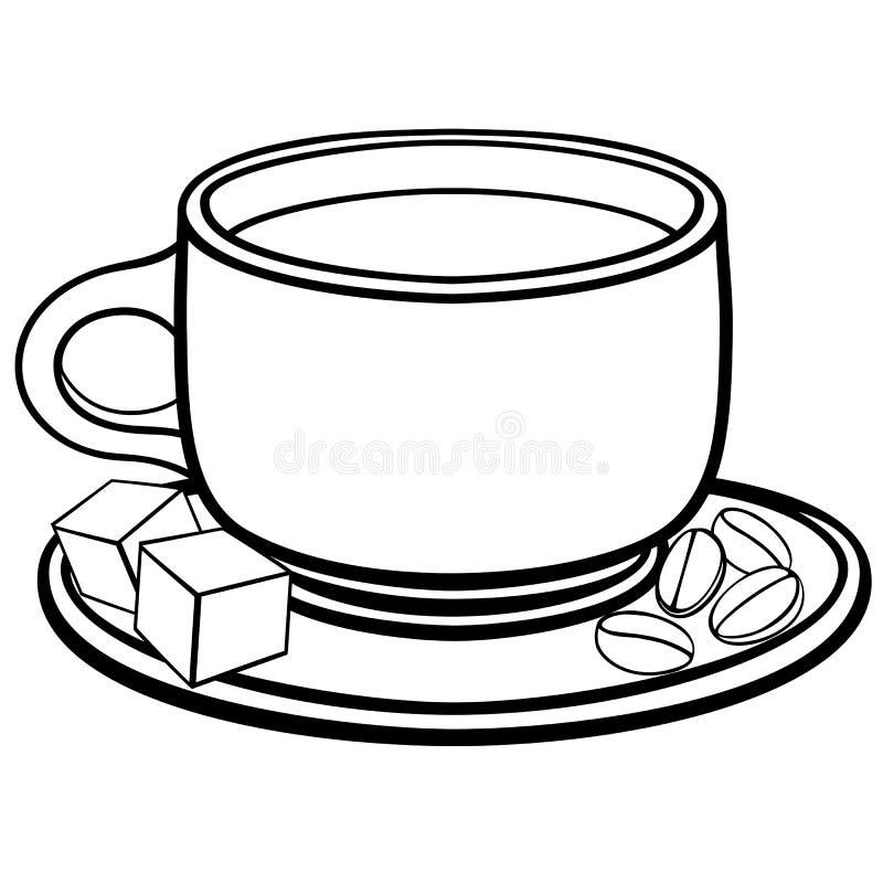 Une tasse de café sur une soucoupe Grains de café et morceaux de sucre Dessin au trait Pour le colorin illustration stock