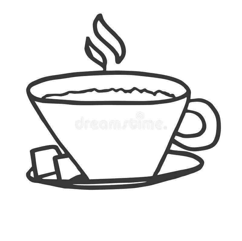 Une tasse de cappuccino chaud avec deux morceaux de sucre sur un pla d'argent illustration de vecteur