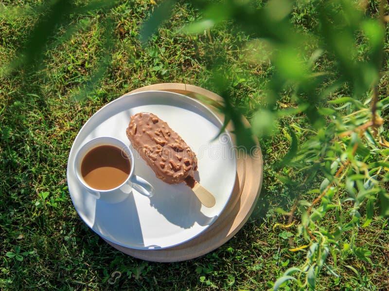 Une tasse de crème glacée de café et a servi sur une herbe un jour chaud d'été images stock