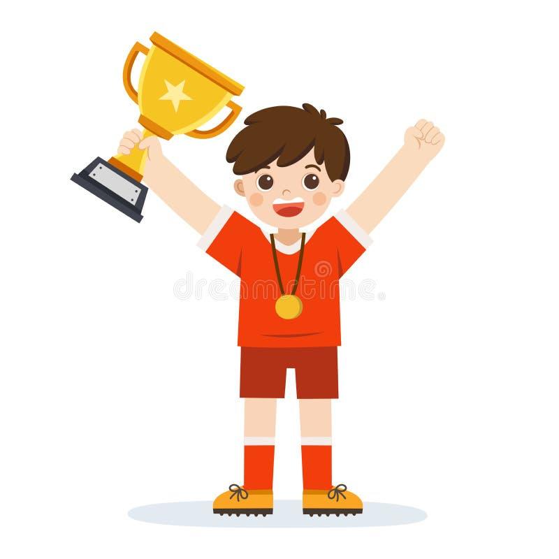 Une tasse de gagnant de participation de garçon, enfant célébrant sa victoire illustration de vecteur